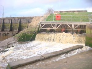 Fast flowing weir on the Lancashire Coastal Walk