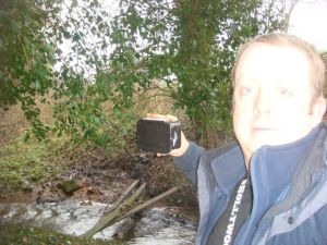A rather ghostly picture of me on one of the Stafford to Newport railway caches