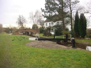 Lock and lock keeper's cottage on the Trent and Mersey Canal
