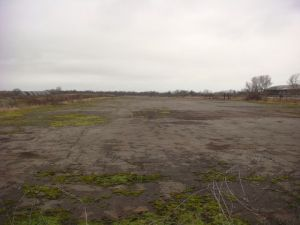 Pilot's eye view of the old runway at WW2 Lichfield airfield