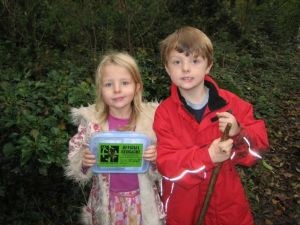 Isaac and Freya with the old Lodge Hill cache in 2005