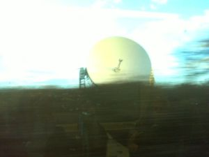 Jodrell Bank telescope as we zoomed past at 102mph