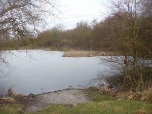 Frozen fisherman's pond near one of the caches