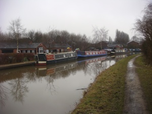 Canal boats moored at Sneyd Wharf