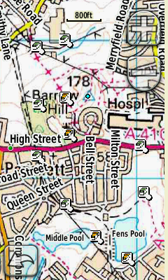 Icons overlaid on the OS map