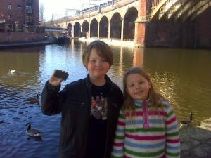 Isaac and Freya with the cache