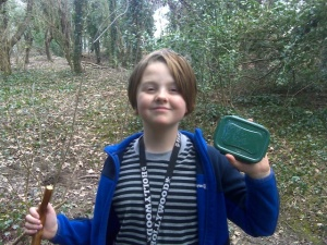 Isaac with one of the caches
