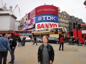 Isaac at Piccadilly Circus