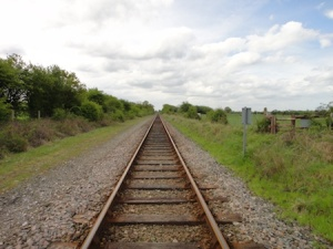 Crossing the railway on the Croston walk