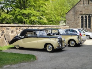 Wedding cars outside Croston church