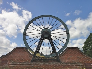 An old pit wheel is a fitting reminder of the mining that this area used to know