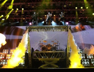 Kiss make a very impressive entrance at the Sheffield Arena