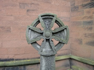 One of the Bromborough Crosses in a churchyard near to a cache