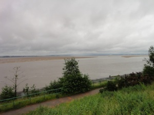 Looking out along the River Mersey towards Runcorn