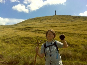 Isaac with one of the caches just below Stoodley Pike