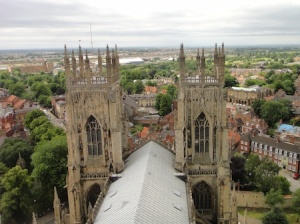 Looking out from the top of the main York Minster tower, near to the YOSM cache