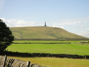 Looking over towards Stoodley Pike - the trail leads past there and onwards to the far end of the valley