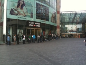 Part of the queue outside the Bullring at 5am - it got a LOT busier still later on!