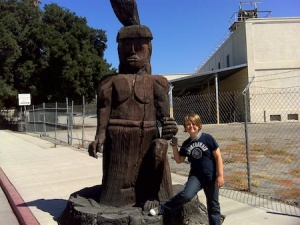 One of the virtual caches in Fillmore - a lovely wooden statue of a Chumash native American.