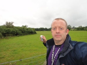 Me with one of the caches in the series to the south of Stafford