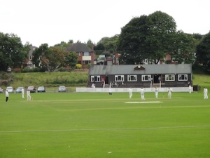 A cricket match in full play, next to Lyme Valley Park