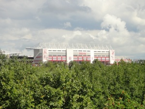 The Britannia Stadium - home of Stoke City FC. Seen from the canal on the Shep's Walk series.
