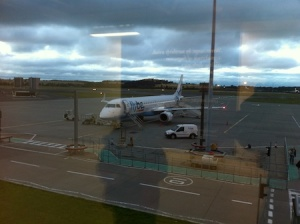 Arriving in Edinburgh - it's already dark at home by now!