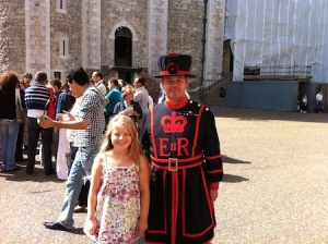 Freya with a Beefeater at the Tower of London