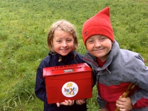 The children with the bonus cache near Great Bolas. It was raining a bit at the time and hence the expressions on their faces (they were enjoying the caching - honest!)