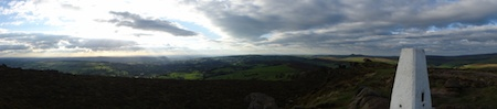 Panoramic views from the trigpoint on the Roaches