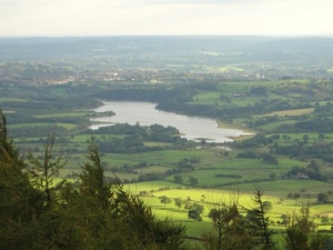 Looking down on Tittesworth Reservoir and the area we'd been caching in earlier in the day from the top of the Roaches.