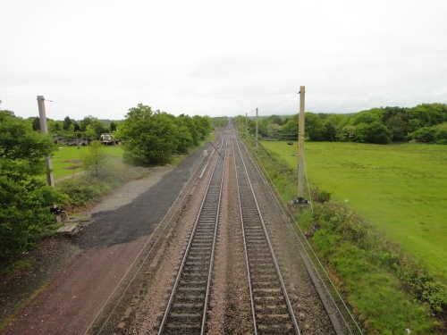 Crossing the mail railway line on the Charnock Richard walk